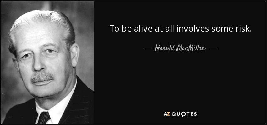 To be alive at all involves some risk. - Harold MacMillan