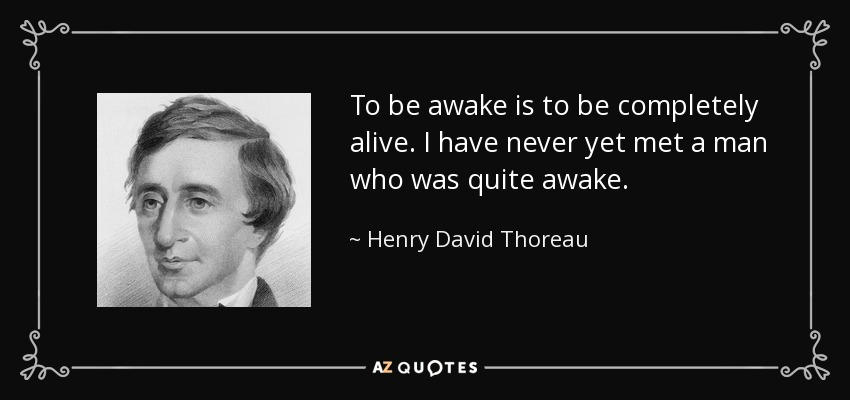 To be awake is to be completely alive. I have never yet met a man who was quite awake. - Henry David Thoreau