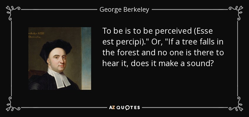 To be is to be perceived (Esse est percipi).