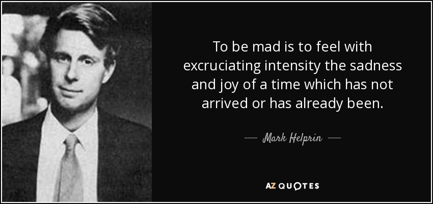 To be mad is to feel with excruciating intensity the sadness and joy of a time which has not arrived or has already been. - Mark Helprin