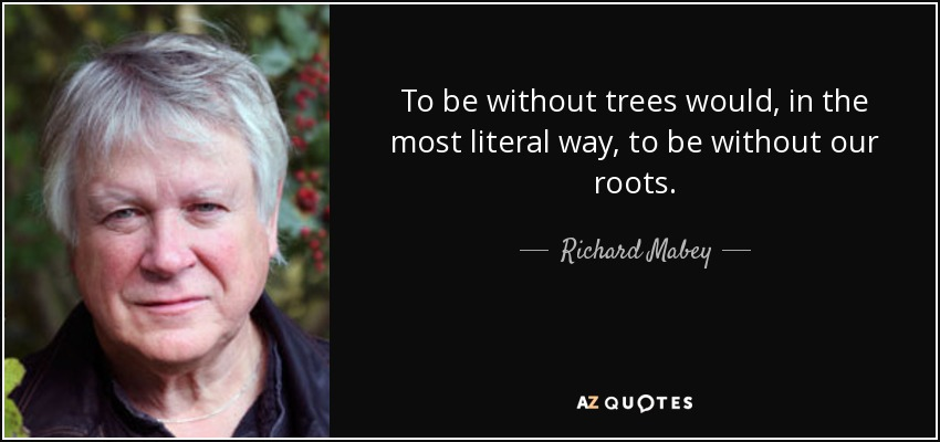 To be without trees would, in the most literal way, to be without our roots. - Richard Mabey