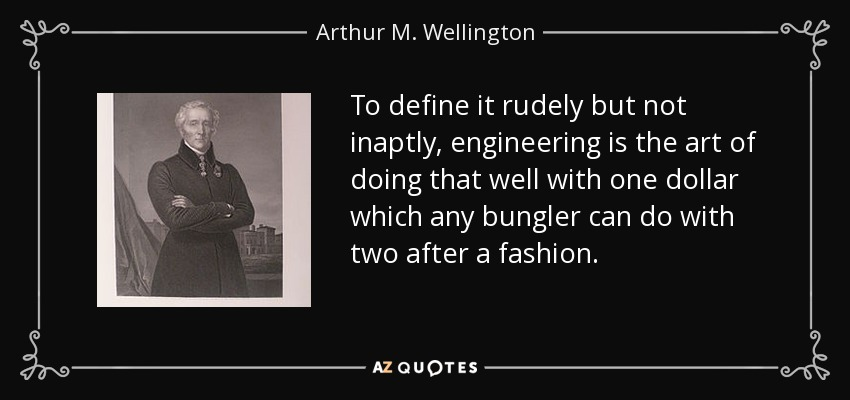 To define it rudely but not inaptly, engineering is the art of doing that well with one dollar which any bungler can do with two after a fashion. - Arthur M. Wellington