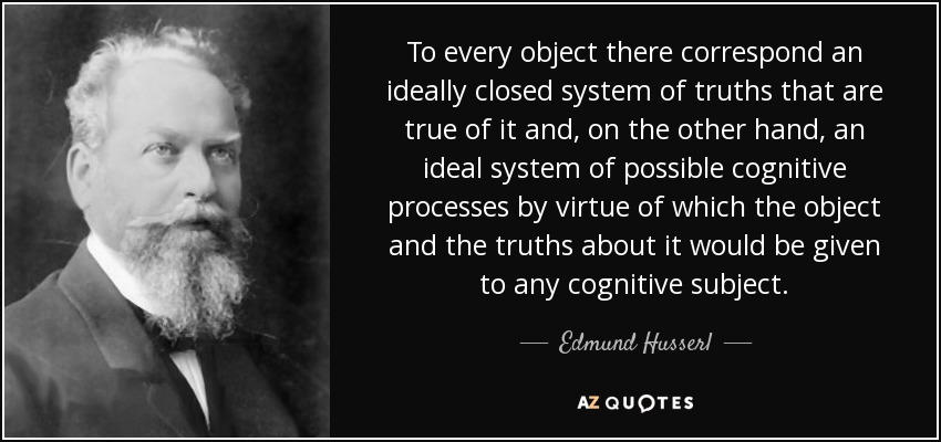 To every object there correspond an ideally closed system of truths that are true of it and, on the other hand, an ideal system of possible cognitive processes by virtue of which the object and the truths about it would be given to any cognitive subject. - Edmund Husserl