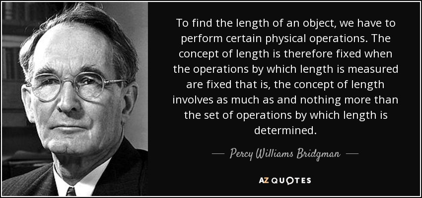 To find the length of an object, we have to perform certain physical operations. The concept of length is therefore fixed when the operations by which length is measured are fixed that is, the concept of length involves as much as and nothing more than the set of operations by which length is determined. - Percy Williams Bridgman