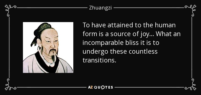 To have attained to the human form is a source of joy... What an incomparable bliss it is to undergo these countless transitions. - Zhuangzi
