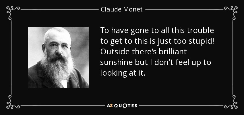 To have gone to all this trouble to get to this is just too stupid! Outside there's brilliant sunshine but I don't feel up to looking at it. - Claude Monet