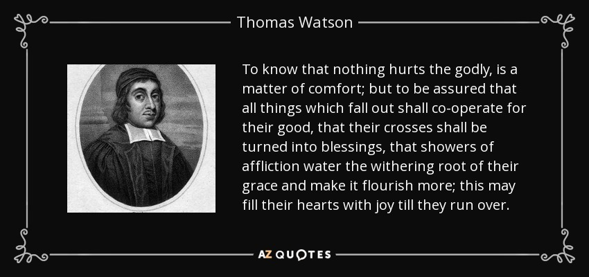 To know that nothing hurts the godly, is a matter of comfort; but to be assured that all things which fall out shall co-operate for their good, that their crosses shall be turned into blessings, that showers of affliction water the withering root of their grace and make it flourish more; this may fill their hearts with joy till they run over. - Thomas Watson
