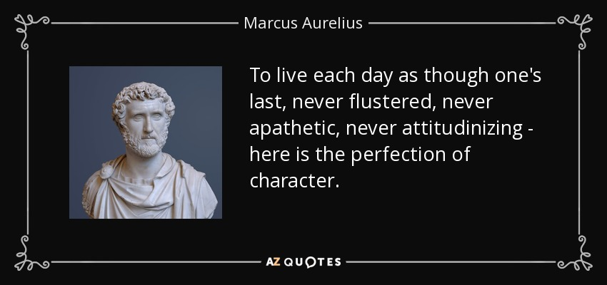 To live each day as though one's last, never flustered, never apathetic, never attitudinizing - here is the perfection of character. - Marcus Aurelius