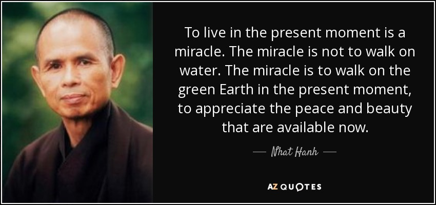 To live in the present moment is a miracle. The miracle is not to walk on water. The miracle is to walk on the green Earth in the present moment, to appreciate the peace and beauty that are available now. - Nhat Hanh
