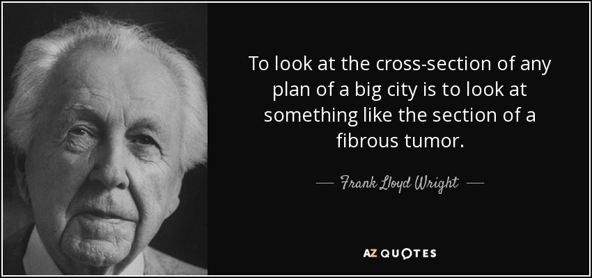 To look at the cross-section of any plan of a big city is to look at something like the section of a fibrous tumor. - Frank Lloyd Wright