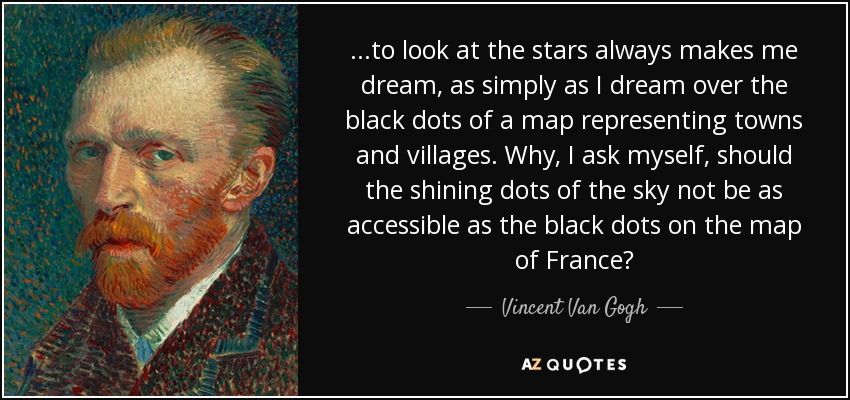 Vincent Van Gogh Quote To Look At The Stars Always Makes Me