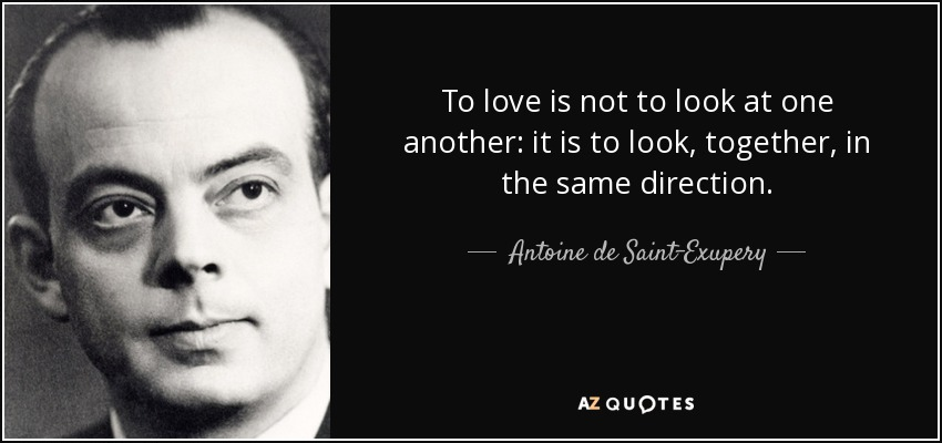 To love is not to look at one another: it is to look, together, in the same direction. - Antoine de Saint-Exupery