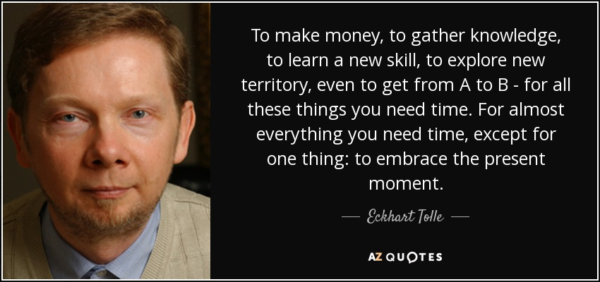 To make money, to gather knowledge, to learn a new skill, to explore new territory, even to get from A to B - for all these things you need time. For almost everything you need time, except for one thing: to embrace the present moment. - Eckhart Tolle