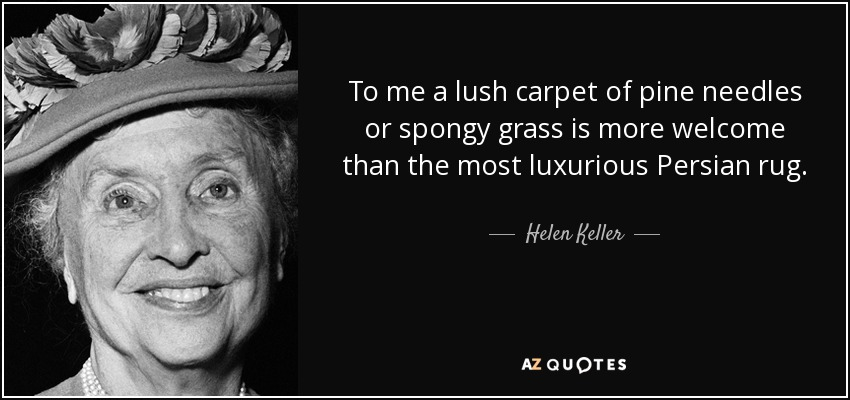 To me a lush carpet of pine needles or spongy grass is more welcome than the most luxurious Persian rug. - Helen Keller