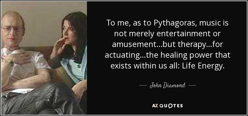 John Diamond Quote To Me As To Pythagoras Music Is Not Merely