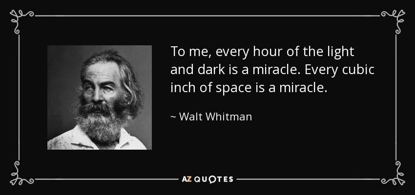To me, every hour of the light and dark is a miracle. Every cubic inch of space is a miracle. - Walt Whitman