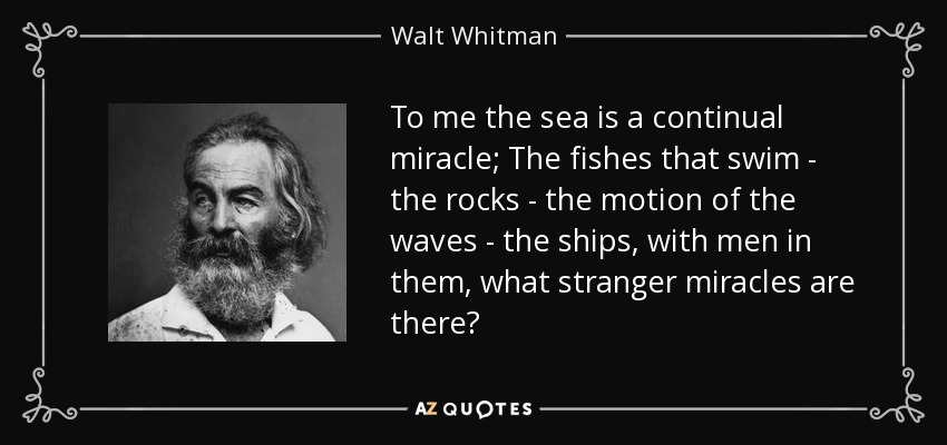 To me the sea is a continual miracle; The fishes that swim - the rocks - the motion of the waves - the ships, with men in them, what stranger miracles are there? - Walt Whitman
