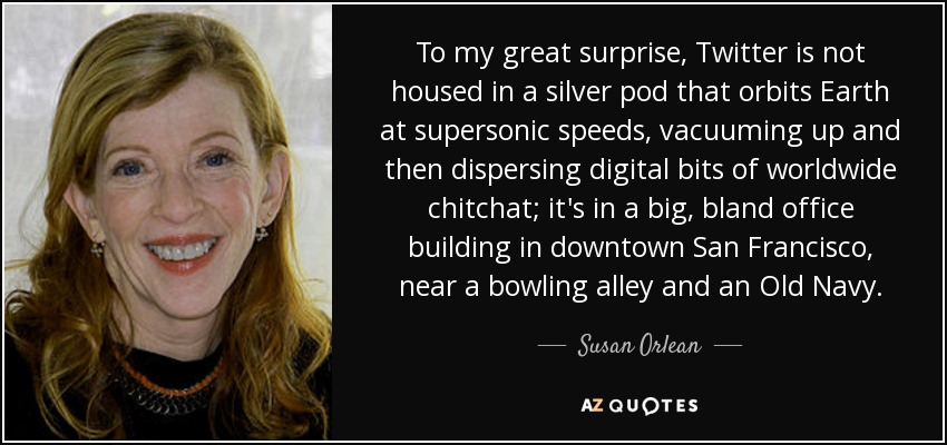 To my great surprise, Twitter is not housed in a silver pod that orbits Earth at supersonic speeds, vacuuming up and then dispersing digital bits of worldwide chitchat; it's in a big, bland office building in downtown San Francisco, near a bowling alley and an Old Navy. - Susan Orlean