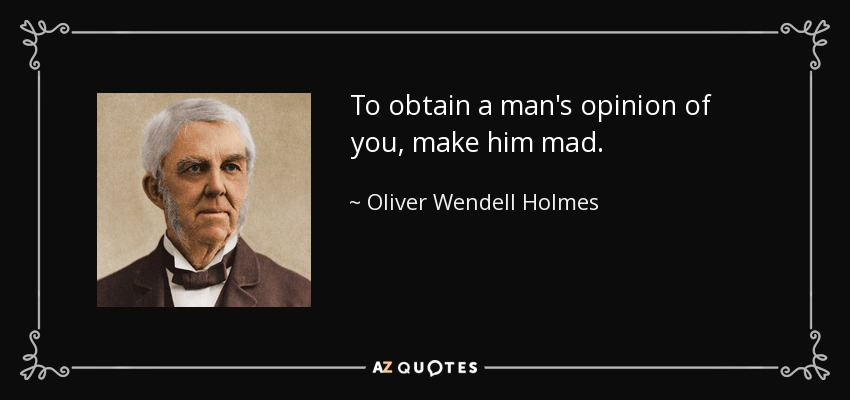 To obtain a man's opinion of you, make him mad. - Oliver Wendell Holmes Sr.