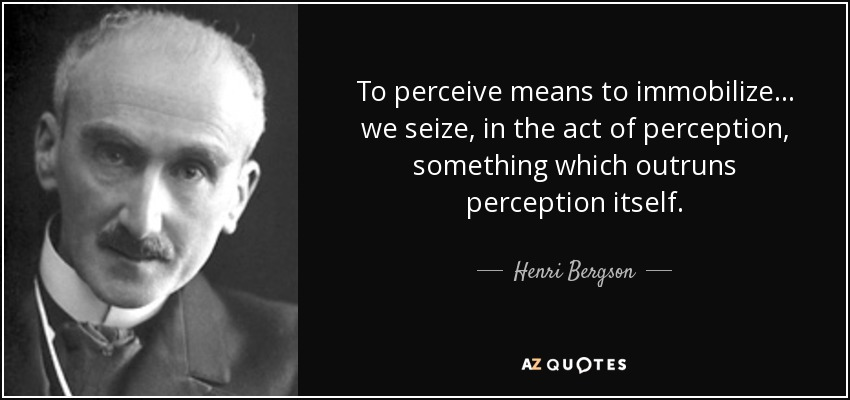 To perceive means to immobilize... we seize, in the act of perception, something which outruns perception itself. - Henri Bergson