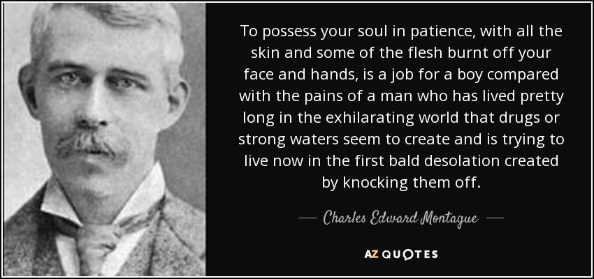 To possess your soul in patience, with all the skin and some of the flesh burnt off your face and hands, is a job for a boy compared with the pains of a man who has lived pretty long in the exhilarating world that drugs or strong waters seem to create and is trying to live now in the first bald desolation created by knocking them off. - Charles Edward Montague