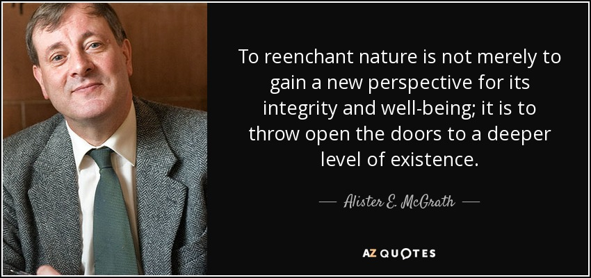 To reenchant nature is not merely to gain a new perspective for its integrity and well-being; it is to throw open the doors to a deeper level of existence. - Alister E. McGrath