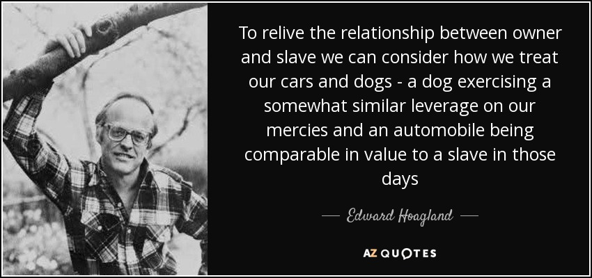 To relive the relationship between owner and slave we can consider how we treat our cars and dogs - a dog exercising a somewhat similar leverage on our mercies and an automobile being comparable in value to a slave in those days - Edward Hoagland