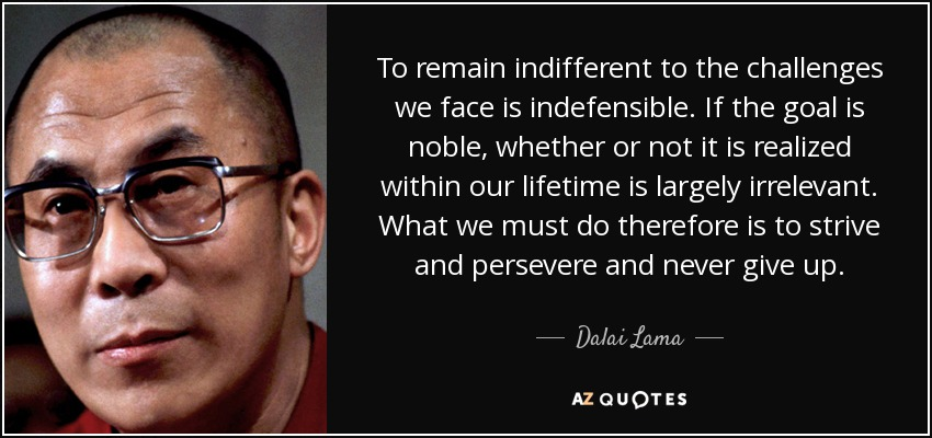 To remain indifferent to the challenges we face is indefensible. If the goal is noble, whether or not it is realized within our lifetime is largely irrelevant. What we must do therefore is to strive and persevere and never give up. - Dalai Lama