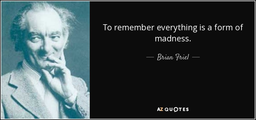 To remember everything is a form of madness. - Brian Friel