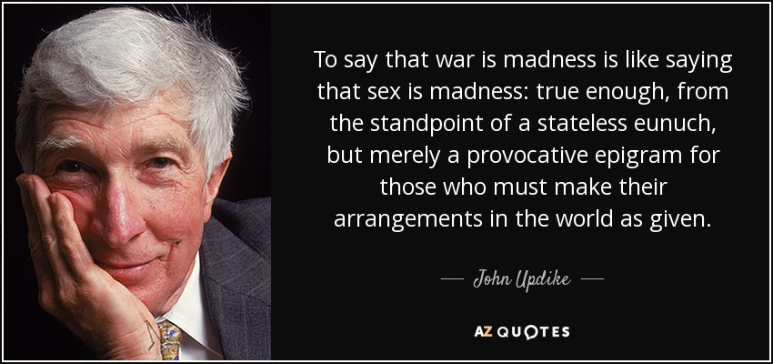 To say that war is madness is like saying that sex is madness: true enough, from the standpoint of a stateless eunuch, but merely a provocative epigram for those who must make their arrangements in the world as given. - John Updike