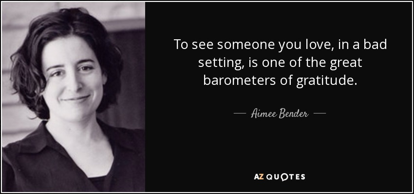 To see someone you love, in a bad setting, is one of the great barometers of gratitude. - Aimee Bender