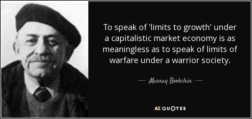 To speak of 'limits to growth' under a capitalistic market economy is as meaningless as to speak of limits of warfare under a warrior society. - Murray Bookchin