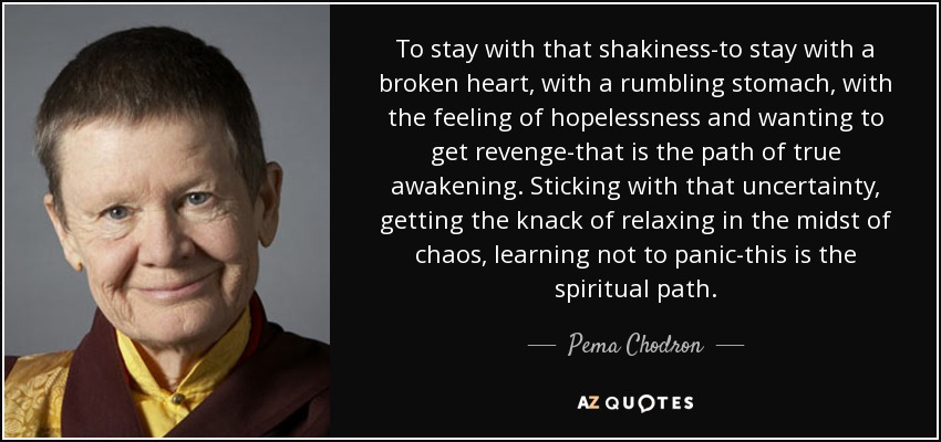 To stay with that shakiness-to stay with a broken heart, with a rumbling stomach, with the feeling of hopelessness and wanting to get revenge-that is the path of true awakening. Sticking with that uncertainty, getting the knack of relaxing in the midst of chaos, learning not to panic-this is the spiritual path. - Pema Chodron