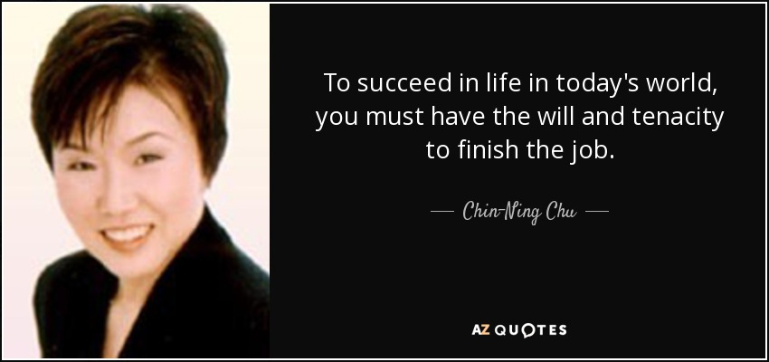 To succeed in life in today's world, you must have the will and tenacity to finish the job . - Chin-Ning Chu