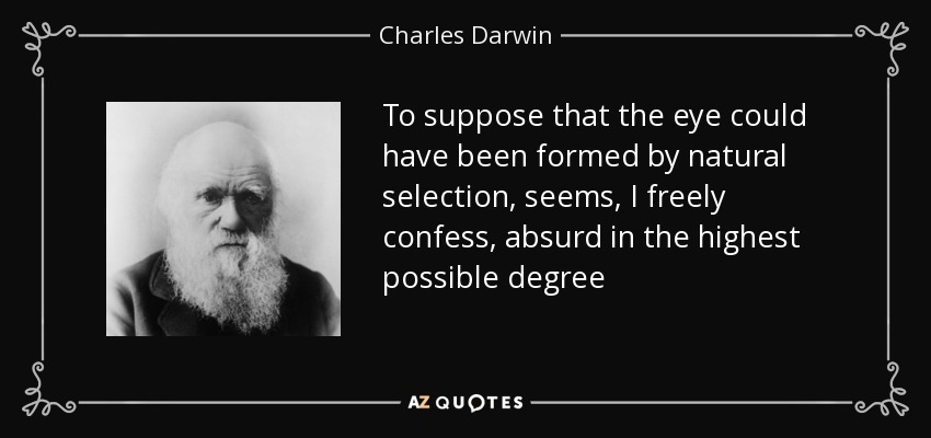 To suppose that the eye could have been formed by natural selection, seems, I freely confess, absurd in the highest possible degree - Charles Darwin