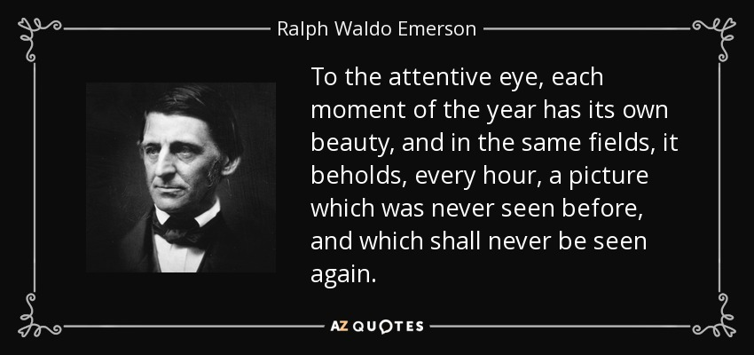 To the attentive eye, each moment of the year has its own beauty, and in the same fields, it beholds, every hour, a picture which was never seen before, and which shall never be seen again. - Ralph Waldo Emerson