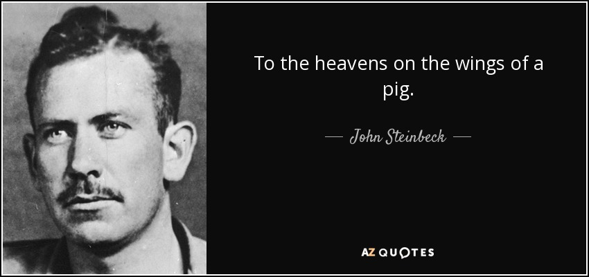 To the heavens on the wings of a pig. - John Steinbeck