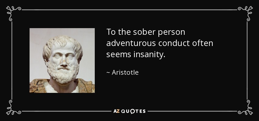 To the sober person adventurous conduct often seems insanity. - Aristotle