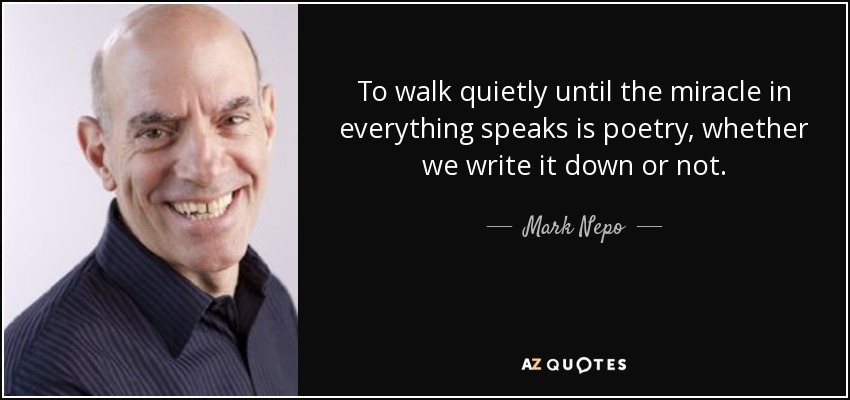 To walk quietly until the miracle in everything speaks is poetry, whether we write it down or not. - Mark Nepo
