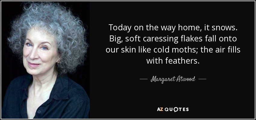 Today on the way home, it snows. Big, soft caressing flakes fall onto our skin like cold moths; the air fills with feathers. - Margaret Atwood