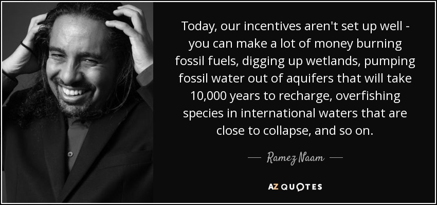Today, our incentives aren't set up well - you can make a lot of money burning fossil fuels, digging up wetlands, pumping fossil water out of aquifers that will take 10,000 years to recharge, overfishing species in international waters that are close to collapse, and so on. - Ramez Naam