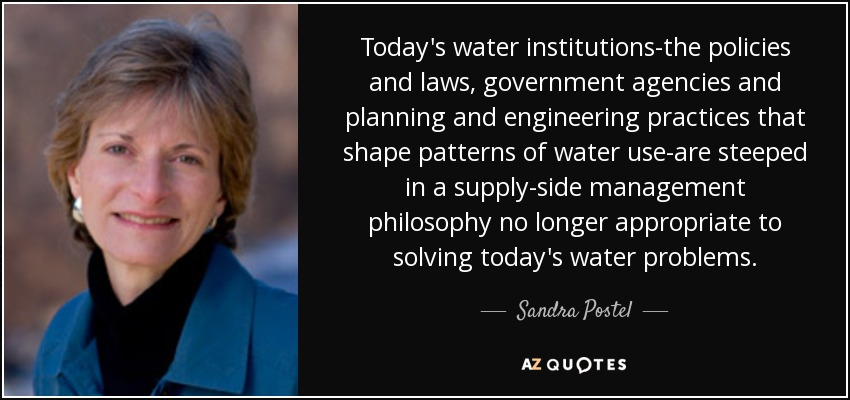 Today's water institutions-the policies and laws, government agencies and planning and engineering practices that shape patterns of water use-are steeped in a supply-side management philosophy no longer appropriate to solving today's water problems. - Sandra Postel