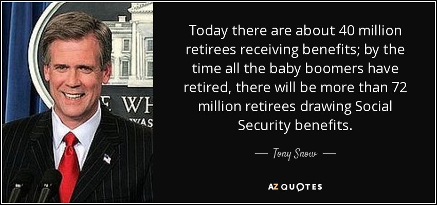 Today there are about 40 million retirees receiving benefits; by the time all the baby boomers have retired, there will be more than 72 million retirees drawing Social Security benefits. - Tony Snow