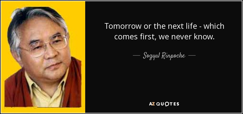 Tomorrow or the next life - which comes first, we never know. - Sogyal Rinpoche