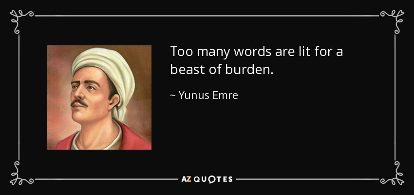 Too many words are lit for a beast of burden. - Yunus Emre