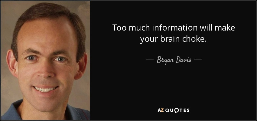 Too much information will make your brain choke. - Bryan Davis