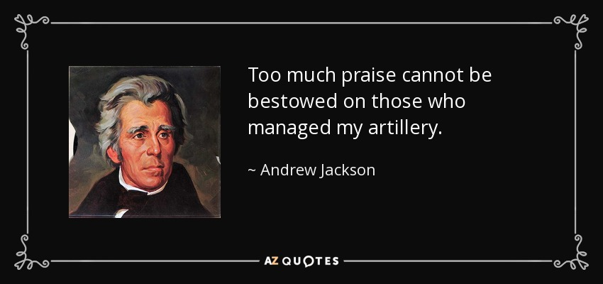 Too much praise cannot be bestowed on those who managed my artillery. - Andrew Jackson