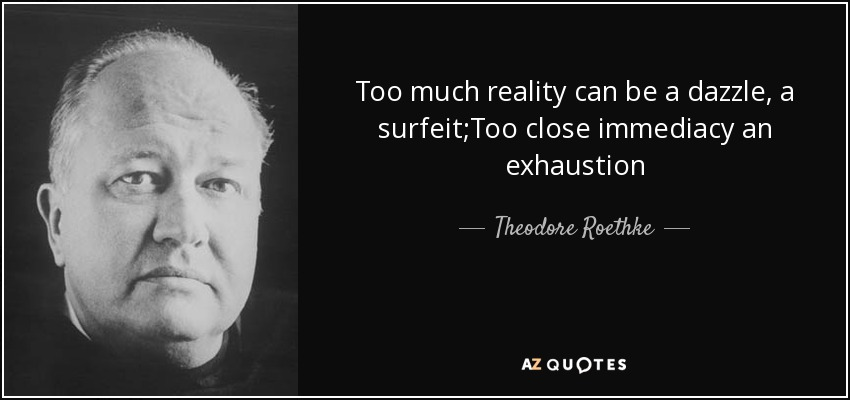 Too much reality can be a dazzle, a surfeit;Too close immediacy an exhaustion - Theodore Roethke