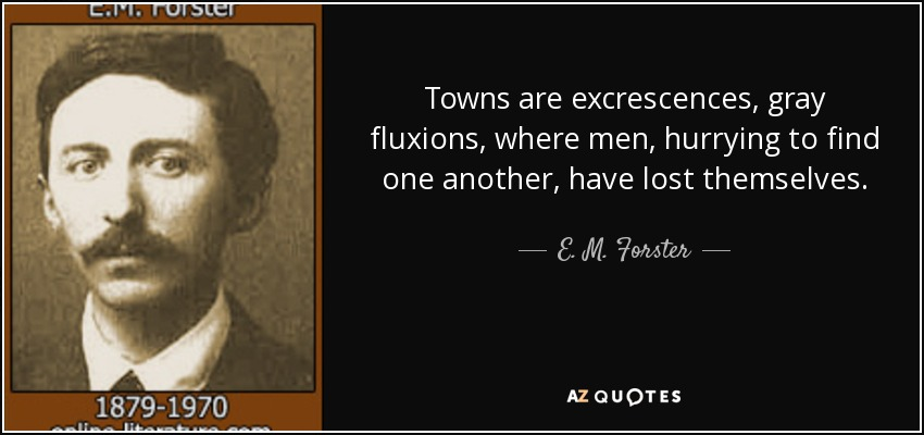 Towns are excrescences, gray fluxions, where men, hurrying to find one another, have lost themselves. - E. M. Forster