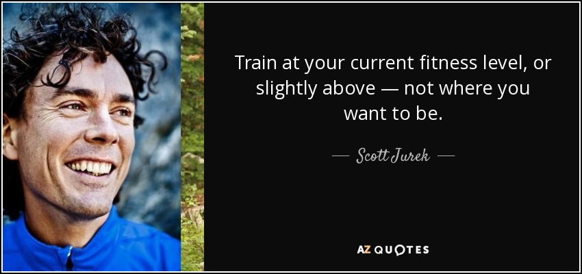 Train at your current fitness level, or slightly above — not where you want to be. - Scott Jurek